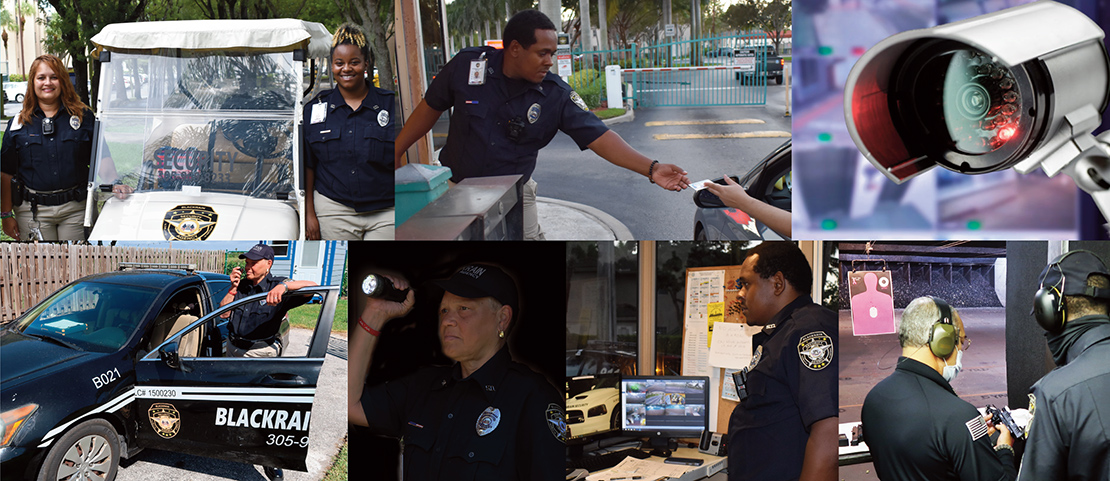 collage of security activities and people